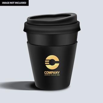 Maquete de caneca de café escuro