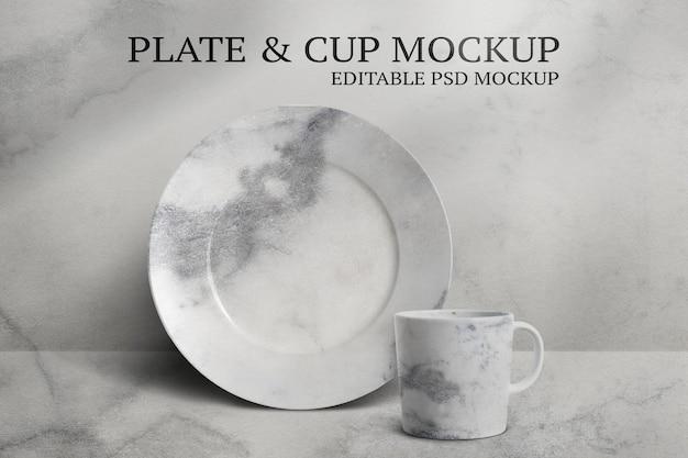 Maquete de caneca e prato psd definido em estilo minimalista