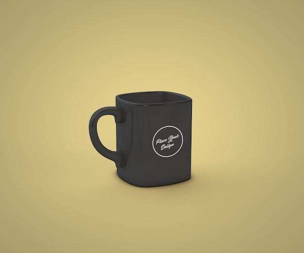 Maquete de caneca quadrada de café