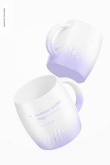 Maquete de canecas de café de cerâmica de 14 onças, flutuante