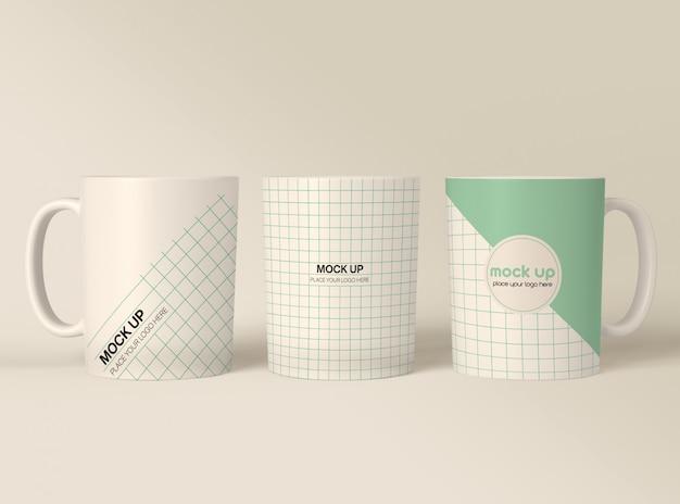 Maquete de canecas de café