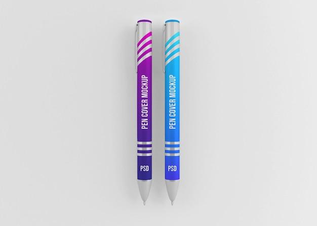Maquete de caneta de metal brilhante com