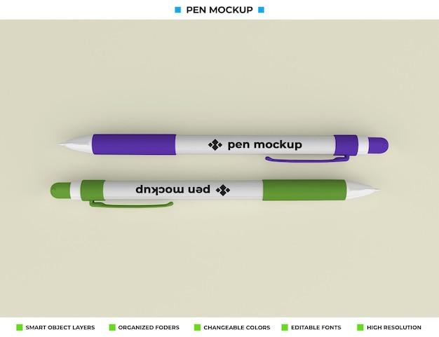 Maquete de caneta isolada em fundo de cor suave