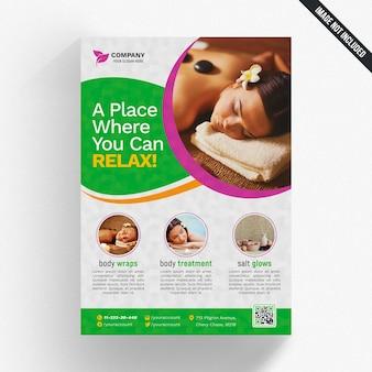 Maquete de capa com o conceito de spa e formas circulares