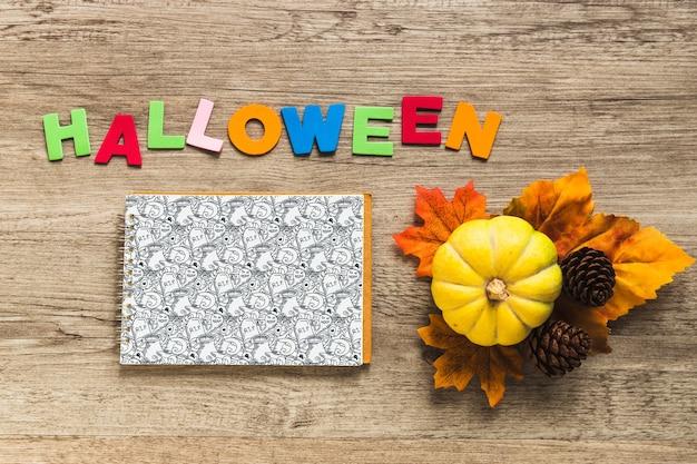 Maquete de capa de caderno de halloween