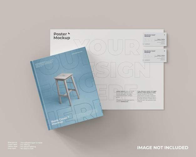 Maquete de capa de livro com pôster e duas maquetes de cartão de visita