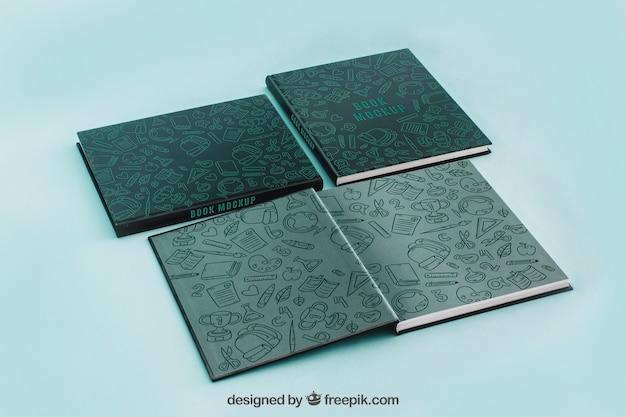 Maquete de capa de livro de quatro