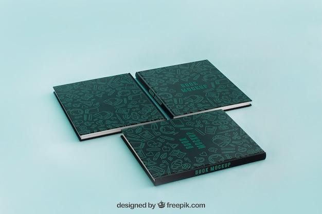 Maquete de capa de livro de três