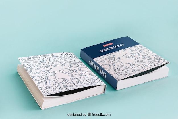 Maquete de capa de livro frontal e traseira