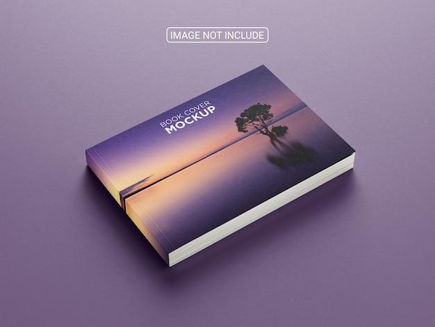 Maquete de capa de livro horizontal com vista lateral