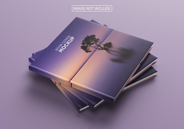Maquete de capa de livro minimalista com vista lateral