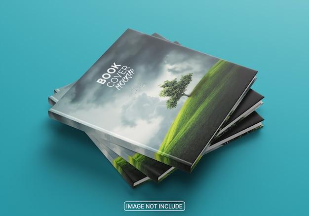 Maquete de capa de livro minimalista de ângulo alto