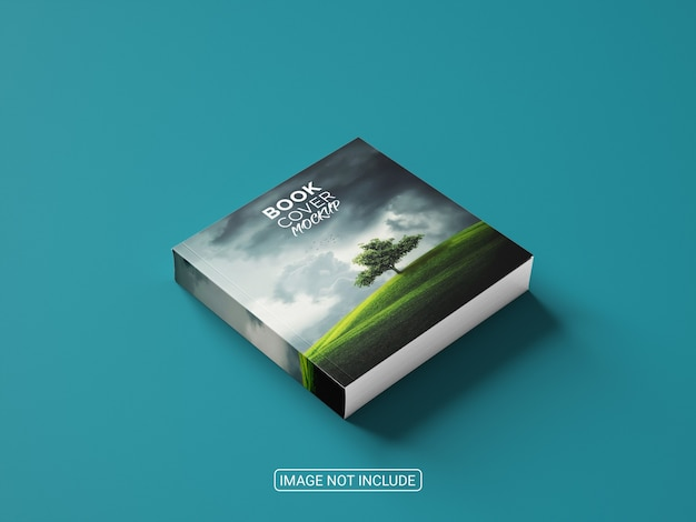 Maquete de capa de livro minimalista em fundo azul