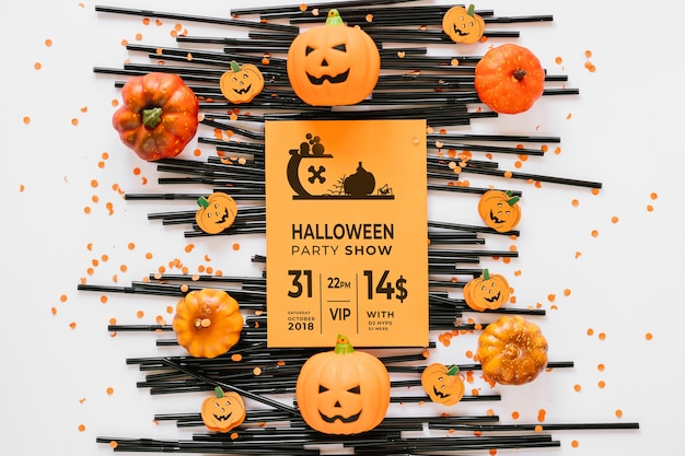 Maquete de capa de papel com conceito de halloween