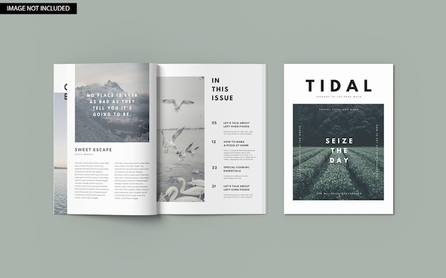 Maquete de capa de revista a4 vista de ângulo superior