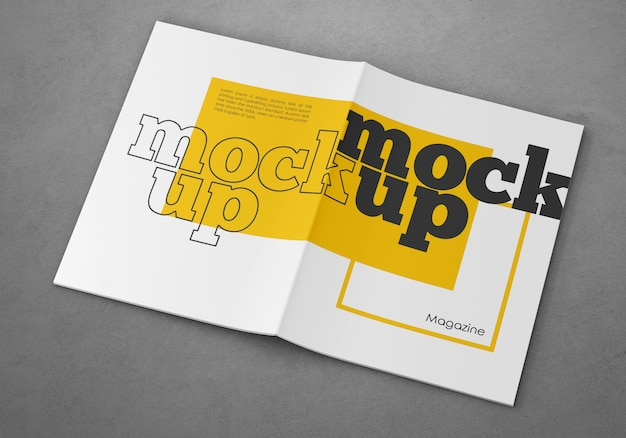 Maquete de capa de revista aberta