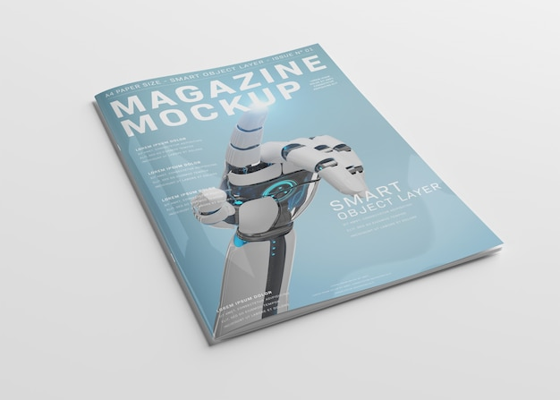 Maquete de capa de revista em branco sobre branco