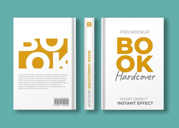 Maquete de capa dura de livro com três visualizações