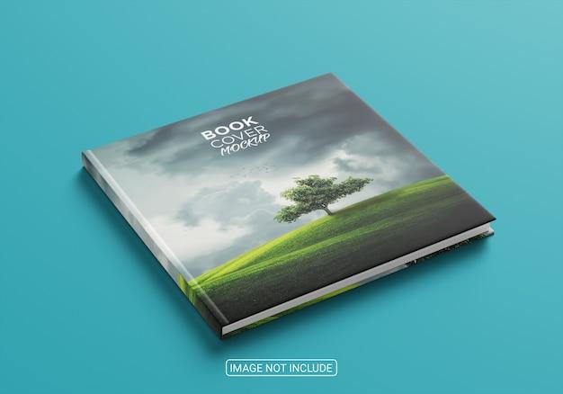 Maquete de capa dura de livro com vista lateral