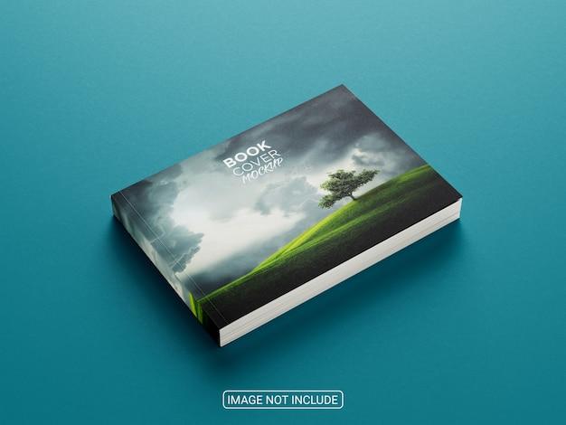 Maquete de capa dura de livro horizontal com vista lateral