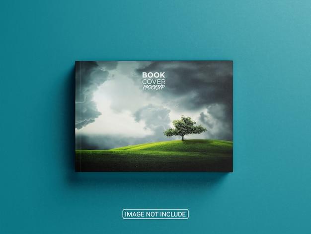 Maquete de capa dura de livro horizontal com vista superior