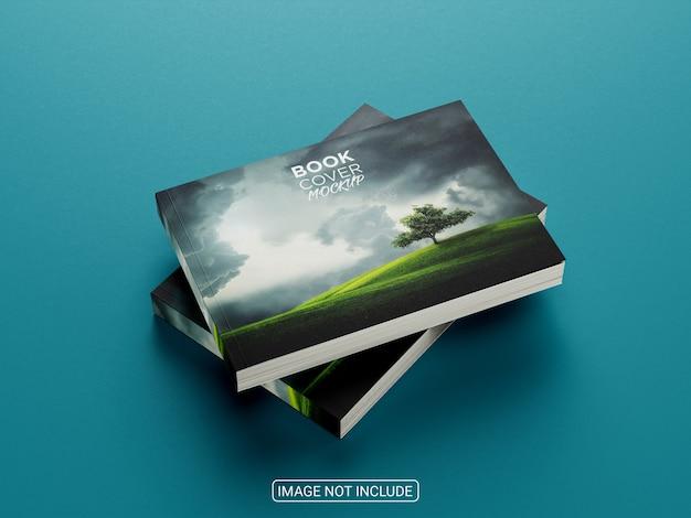 Maquete de capa dura de livro horizontal