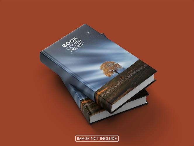 Maquete de capa dura de livro realista de vista lateral isolada