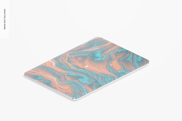 Maquete de capa dura de plástico, vista isométrica