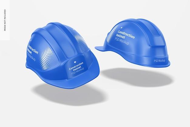 Maquete de capacetes de construção, flutuantes