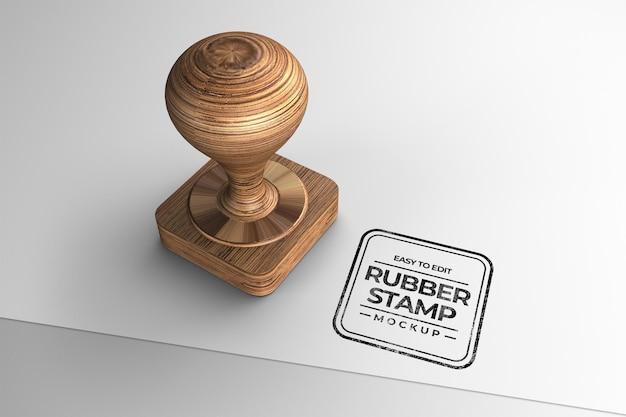 Maquete de carimbo de madeira em forma de quadrado