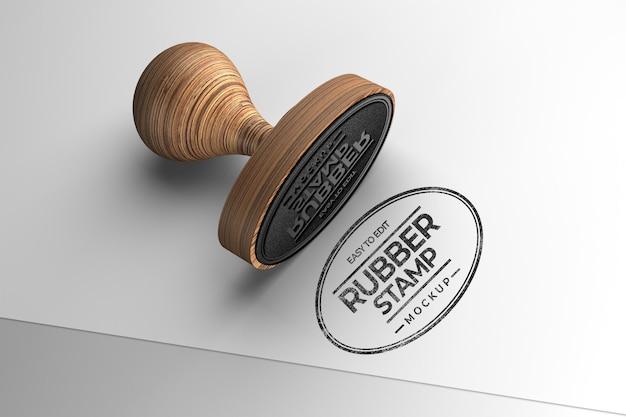 Maquete de carimbo de madeira em formato oval