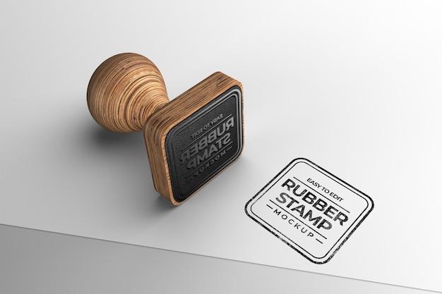 Maquete de carimbo de madeira em formato quadrado