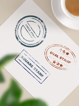 Maquete de carimbo em papel