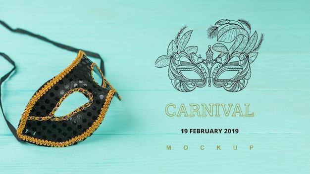 Maquete de carnaval com imagem de máscara