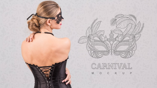 Maquete de carnaval com imagem de mulher