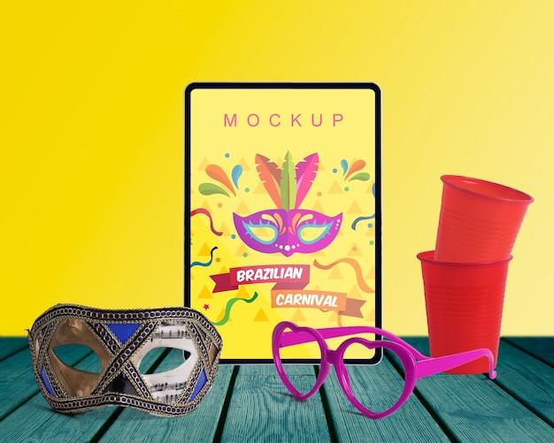 Maquete de carnaval com objetos editáveis