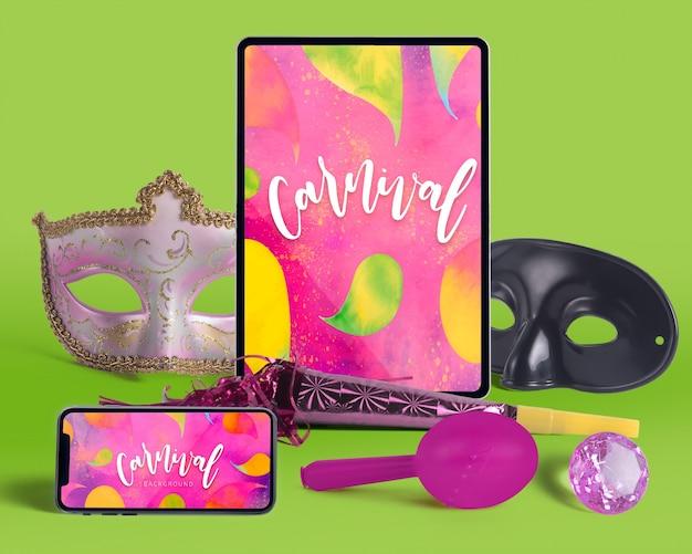 Maquete de carnaval vista superior com objetos editáveis