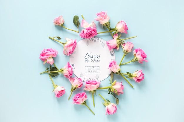 Maquete de cartão com conceito de casamento