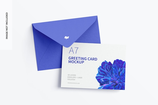 Maquete de cartão comemorativo a7 com envelope