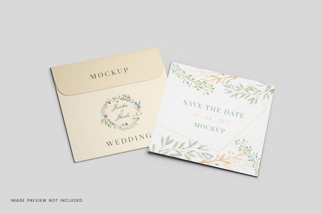 Maquete de cartão comemorativo com envelope