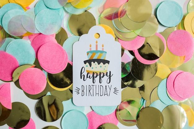 Maquete de cartão de aniversário de vista superior