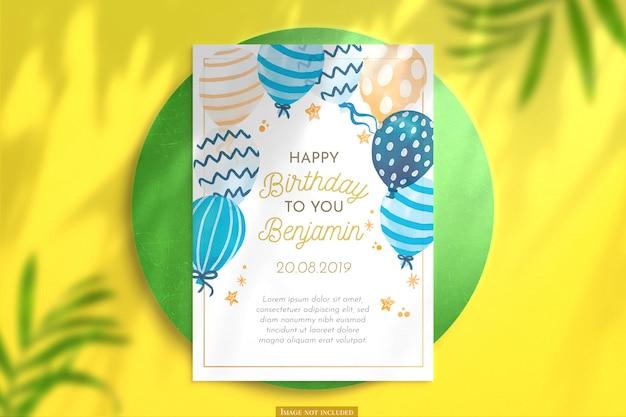 Maquete de cartão de aniversário vertical