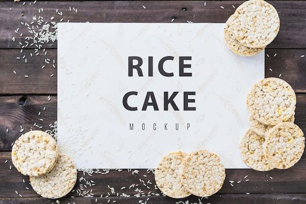 Maquete de cartão de bolo de arroz