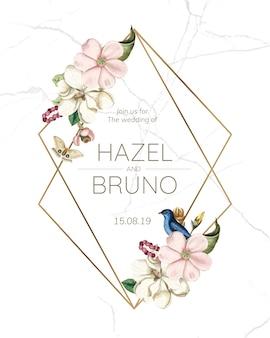 Maquete de cartão de convite de casamento flora