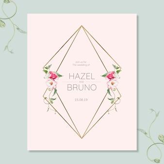 Maquete de cartão de convite de casamento floral