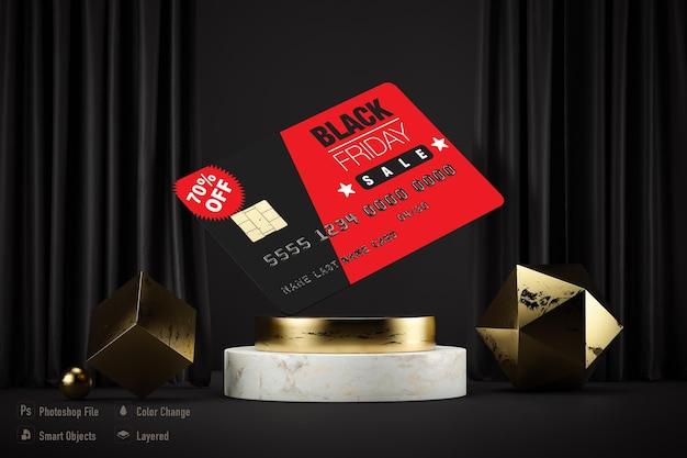Maquete de cartão de crédito isolada para black friday