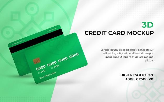 Maquete de cartão de crédito ou débito renderizado em 3d
