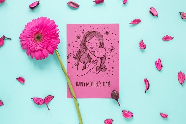 Maquete de cartão de dia das mães com flores
