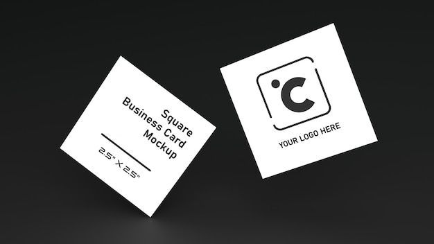 Maquete de cartão de forma quadrada branca empilhamento na tabela de cores preto