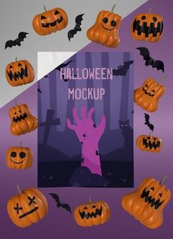 Maquete de cartão de halloween com abóboras assustadoras